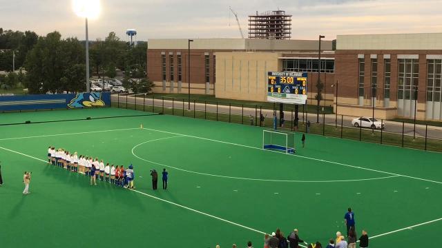 Delaware hoists NCAA field hockey title banner
