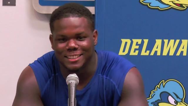 Delaware defensive lineman Bilal Nichols jokes that he missed his chance at a touchdown on the Cornell's opening play, when he ended up with a fumble. Nichols said the team has already started prep for JMU.