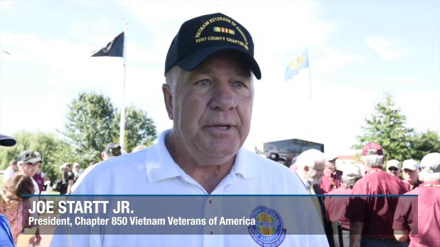 """Dustoff Memorial Service for the UH-1 """"Huey"""" helicopter crews who rescued 900,000 veterans from harm's way in Vietnam at the Vietnam Veterans of America Memorial in Dover."""