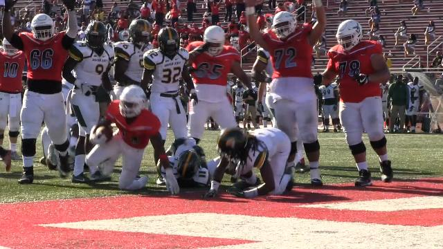 Delaware State's Nyfease West score a touchdown in the 4th quarter