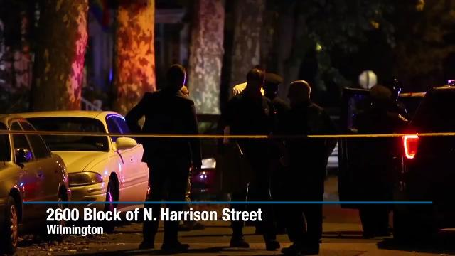 Wilmington Police investigate scene of shooting on N. Harrison Street early Monday morning.
