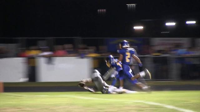 Sussex Central's Jevon Saffold stop a pass attempt