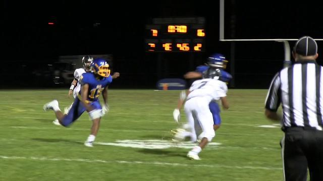 Sussex Central's Isaac Barnes with a interception