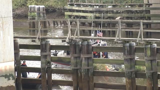 First responders are on a rescue scene after someone jumped off the Winchester Bridge and into the Christina River.