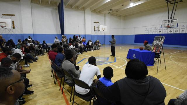 Eric Ayala chooses the University of Maryland to play college basketball during a commitment party at the Fraim Center Boys & Girls Club in Wilmington.