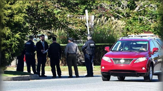 A manhunt was underway in northeastern Maryland and Delaware after a shooting rampage at a granite supplier left three people dead and two others wounded, authorities said.