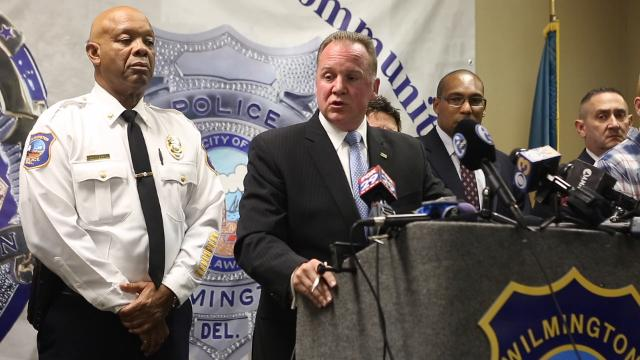 Chief Robert Tracy describes how a tip and a variety of law enforcement combined to catch the suspect in shootings in Maryland and Wilmington Wednesday.