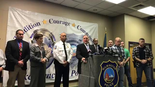 Wilmington police Chief Robert Tracy talks about the capture of mass shooting suspect Radee L. Prince of Belvedere on Wednesday, Oct. 18, 2017.