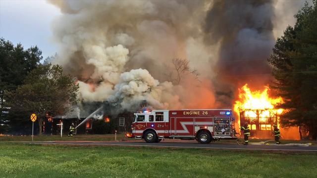 Raw Video: Fire engulfs Vandyke-Heath House near Townsend
