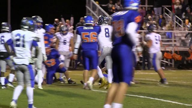 Delmar's Brooks Parker with a touchdown giving them a 20-14 lead over Woodbridge