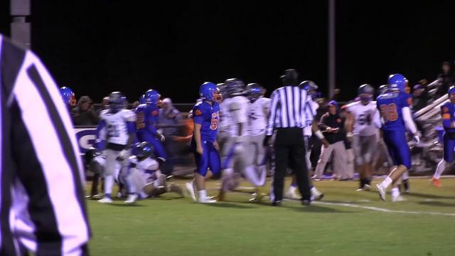 Delmar's Brooks Parker with a touchdown to take the lead 26-21