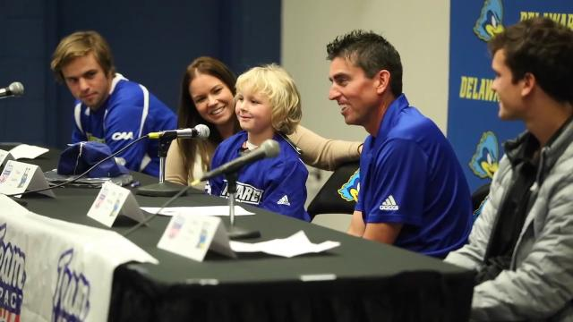 The Delaware men's tennis team made it official: They have a 7-year-old team member in Trace Coudon who has epilepsy and was paired with the squad through a non-profit that matches kids with life-threatening or chronic illnesses with sports teams.