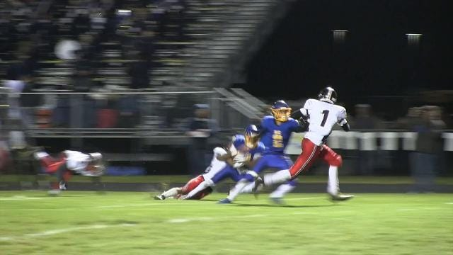 Sussex Central's Drew Morris with a catch for a first down