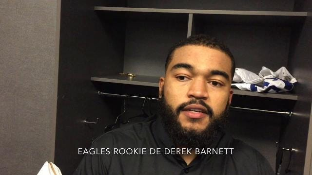 Kamu Grugier-Hill, Derek Barnett and Ronald Darby after Eagles' win over Cowboys.