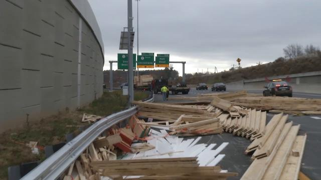 A large amount of lumber and building material has fallen off a truck and onto southbound Del. 1 in the area of Christiana Mall, closing multiple lanes of traffic.  12/5/17