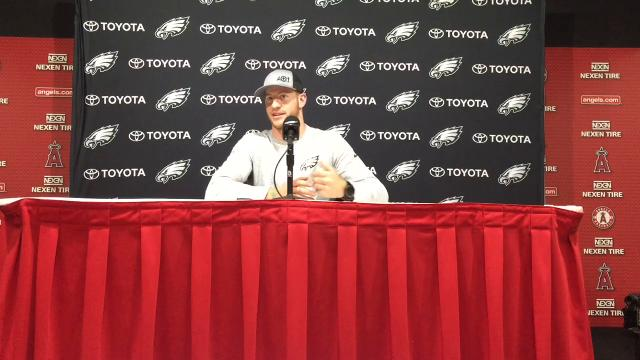 Carson Wentz discusses the Eagles spending the week in the Los Angeles area, and his matchup against Rams QB Jared Goff.