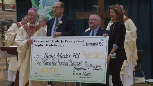 Donation to WIlmington-area Catholic school from Stephen Hyde to be used to propel the school forward and remind students of its motto: all things are possible.