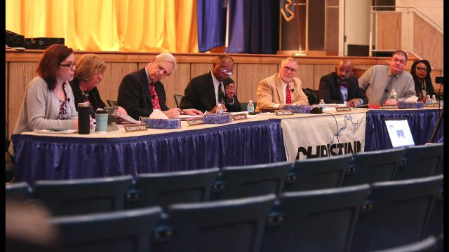 "Christina school board tabled a vote on a school consolidation plan after voicing discouragement about changes made by the state. Elizabeth Paige said her biggest concern was changes were ""focused on real estate and property and not people."""