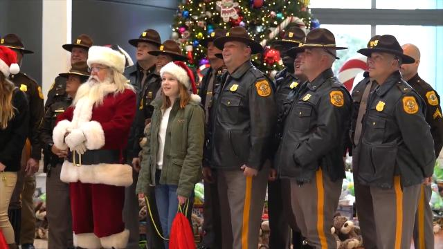 Delaware FOP and members of the NCCo police deliver toys to children at Nemours Alfred I. duPont Hospital for Children.