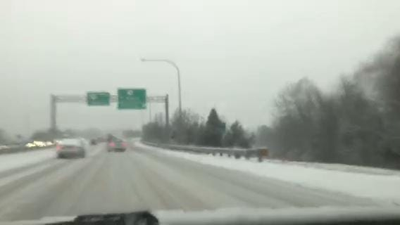 Ride along on a commute home along a slippery Del. 273 as snow falls at the start of rush hour on Friday, Dec. 15.