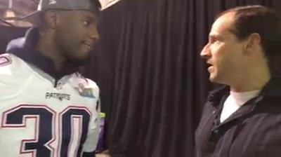 Caesar Rodney alum Duron Harmon from the Patriots press gathering