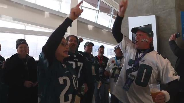 Eagles fans give their Super Bowl LII predictions from US Bank Stadium in Minneapolis, Minn.