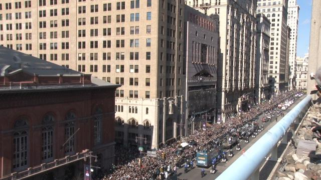 Raw Video: Eagles parade travels up Broad St.