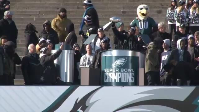 The Philadelphia Eagles celebrated their Super Bowl LII victory with a parade down Broad Street and celebration on the steps of the Philadelphia Museum of Art.