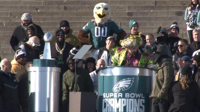 Full speech by Eagles center Jason Kelce at the Eagles' Super Bowl victory celebration.