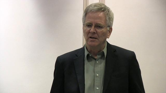 "Rick Steves, famed travel author and host of the PBS series ""Rick Steves' Europe"", speaks during a press conference in advance of the final Adult Use Marijuana Task Force hearing at Legislative Hall in Dover."