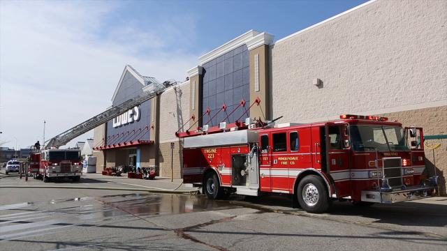 Fire crews are on the scene of a fire at Lowe's Home Improvement on Hessler Boulevard in New Castle.