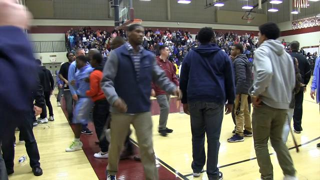 Raw video: Brawl breaks out at Smyrna Cape basketball game