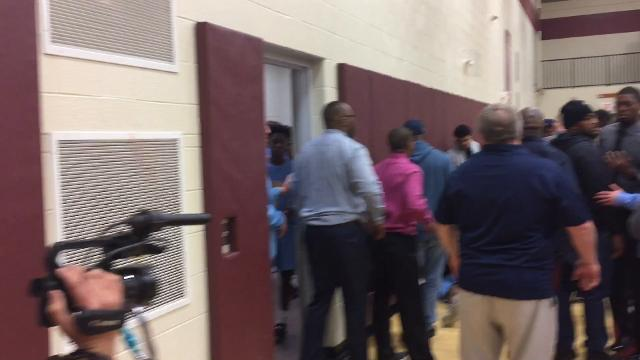 Thursday night's Henlopen North boys basketball playoff game between Smyrna and Cape Henlopen was ended with 4:02 remaining after a brawl erupted between at least one Cape Henlopen player and at least one spectator at the Milford Central Academy gym.
