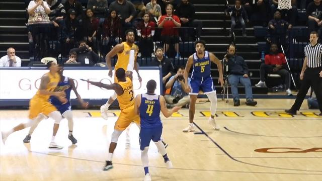 Delaware's Darian Bryant was called for a foul as he contested a Drexel three-point try in a tie game's final seconds. A pair of free throws was the difference in the Blue Hens 85-83 loss in a game they lead by 34.