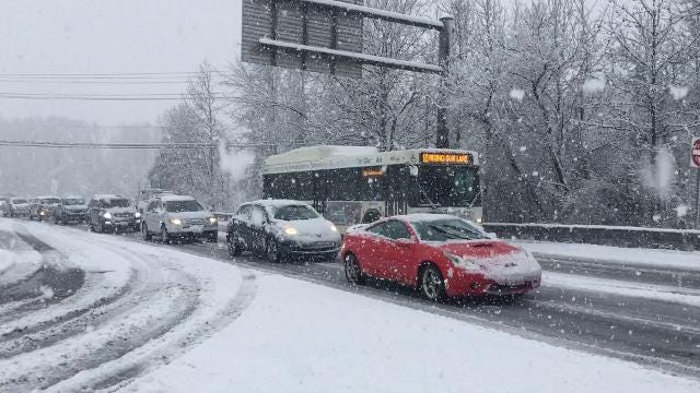 Heavy snow Wednesday afternoon began to take its toll on roads and motorists.