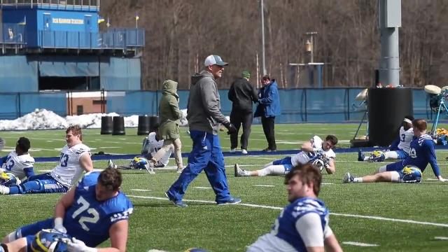 Head Coach Danny Rocco and the University of Delaware football team hit the field Tuesday to begin training.