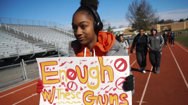 Students at Brandywine HS walked around the track for 17 minutes protesting gun violence and remembering the 17 students that died in the mass shooting in Parkland, FL.