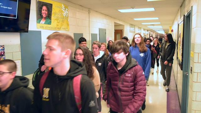 Students from Newark High School participate in nationwide walkout.