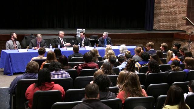 Caesar Rodney High School held a town hall meeting moderated by the school's AP Comparative Government teacher and intended as an opportunity for conversations between students and their local representatives.
