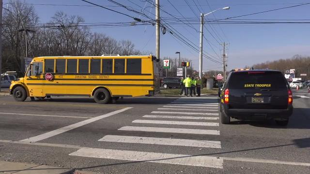 A crash in Bear involving a school bus injured a woman and two children Thursday morning.  3/15/18