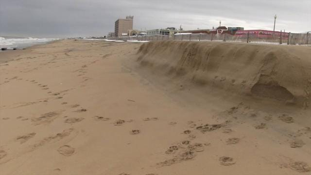 Raw video: Beach erosion at Rehoboth Beach