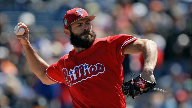 Arrieta lasted two innings, allowed two runs on three hits and struck out two against the Detroit Tigers on Thursday.