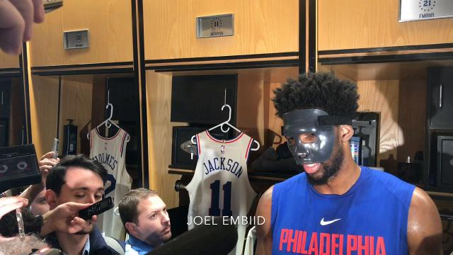 Sixers center Joel Embiid on his injury and getting used to wearing a mask.
