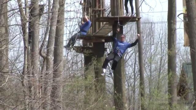 To promote the start of the spring tourism season, Gov. John Carney went zip lining Thursday afternoon at Lums Pond.  4/13/18