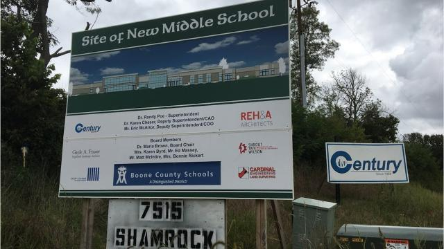 Boone County Schools will open its sixth middle school to reduce student populations in three other middle schools to less than 1,000 students. Ballyshannon Middle School at 7515 Shamrock Drive, Union is scheduled to open to students in fall 2018.