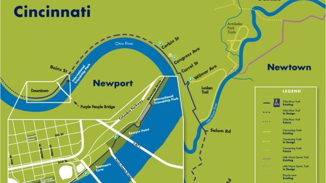 Ohio River Trail Portion Of Project Hits Dead End - Cincinnati-ohio-on-us-map