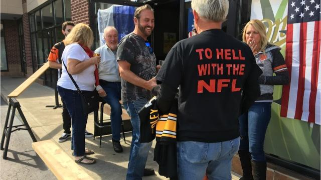 A Cincinnati area bar in Wilder, Kentucky, burned and shredded NFL player jerseys Oct. 1 as a counterprotest to NFL players kneeling during the national anthem to raise awareness of racial inequality.
