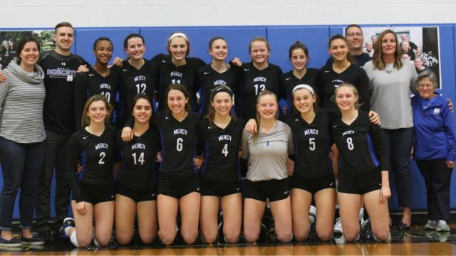Mother of Mercy's volleyball team played its final home game on Oct. 12, 2017 before the Bobcats merge with and move to McAuley next school year