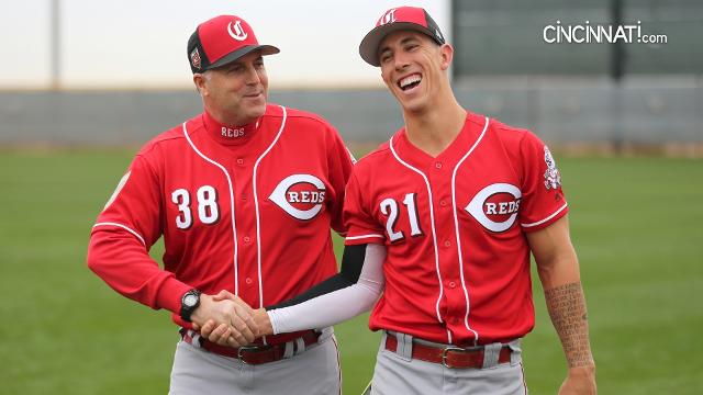 Cincinnati Reds pitchers and catchers hit the field for the first workout of spring training in Goodyear, Arizona.