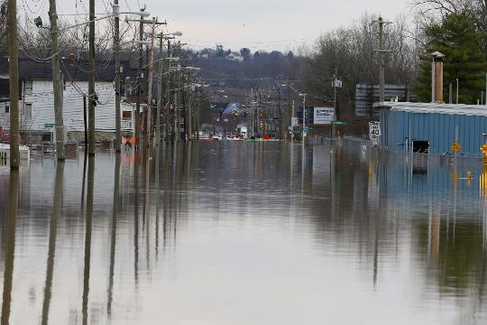 Flooding along Kellogg Avenue